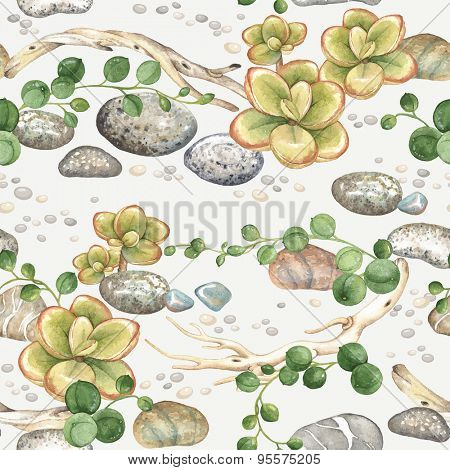 Seamless pattern of watercolor Succulents String of Pearls, with small plants succulents, dry branches and stones, vector illustration on light gray background.