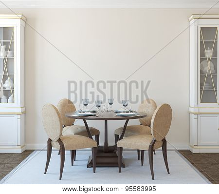 Modern dining-room interior for four persons. Classic style. 3d render. poster