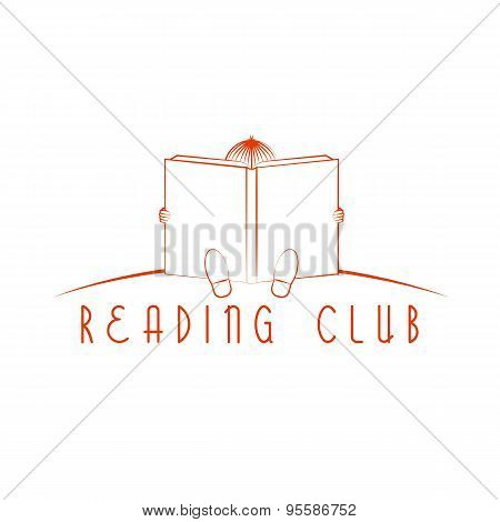 Child Sitting And Read Book, Reading Club Logo