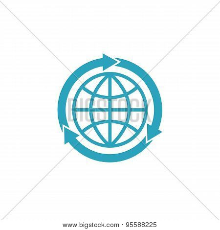 Blue Globe Logo With Arrows, Mockup Globalization Concept Sign