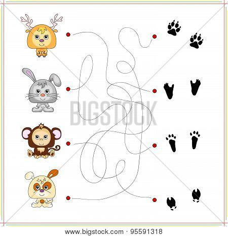 Deer rabbit monkey and dog with their traces of foot. Game for children: go through the maze and find the right answer poster