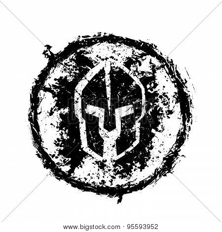 grunge spartan helmet, round emblem, vector illustration