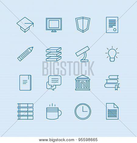 Education vector icons set. Education, students or school symbols. Stock design elements.