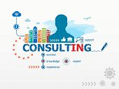 Consulting concept and business man. Flat design illustration for business consulting finance management career. poster