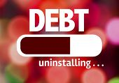 Progress Bar Uninstalling with the text: Debt poster