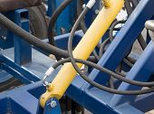 Detail of hydraulic piston Construction lifting machine poster