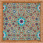 Flowers and stars motif design in Islamic Iranian pattern made of tiles and bricks. poster