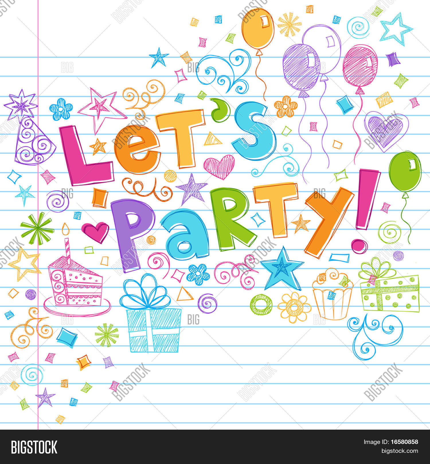 HandDrawn Sketchy Lets Party Vector Photo Bigstock