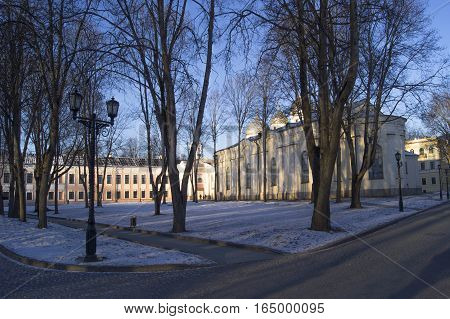 Novgorod Kremlin in Veliky Novgorod Russia the Kremlin. The square in front of St. Sophia Cathedral. Winter landscape. January 2017