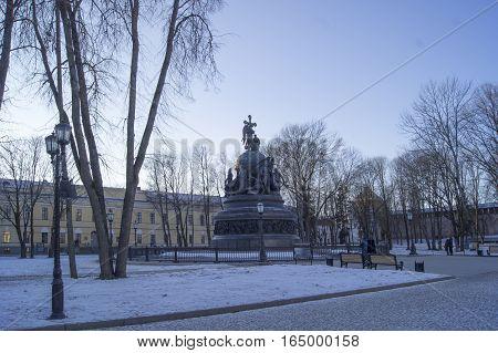 Veliky Novgorod Russia. Monument for Russia millennium in Veliky Novgorod. Winter landscape. January 2017