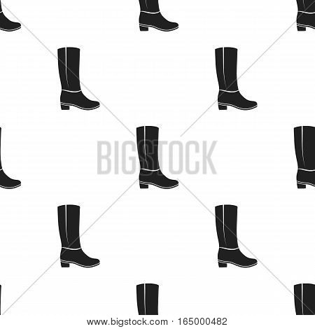 Knee high boots icon in  black style isolated on white background. Shoes pattern vector illustration.