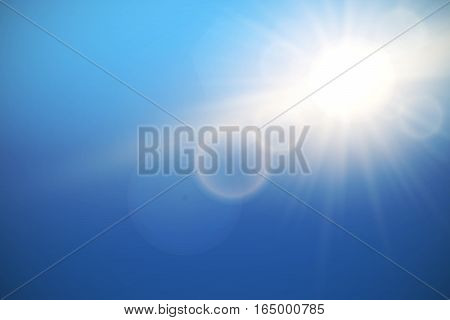 Sun with lens flare on blue sky, vector background.