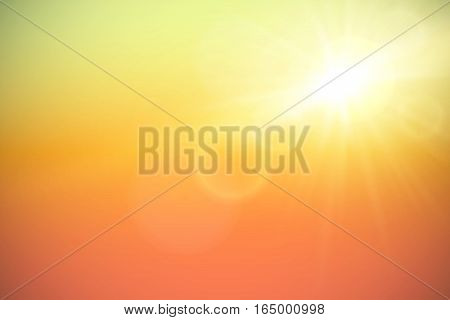 Sun with lens flare on sky, vector background.