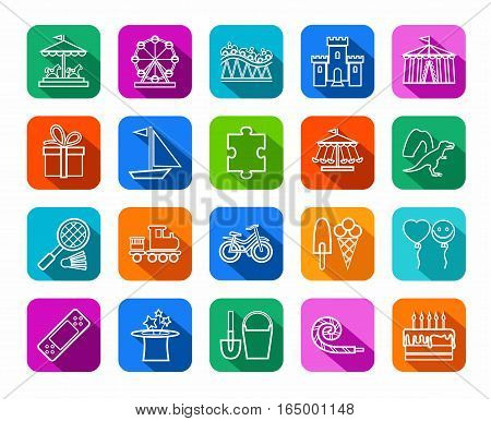 Children's games and entertainment, icons, colored, flat, line, vector. Vector icons of items and objects for children. Children's rest. White linear image on a colored background with a shadow.