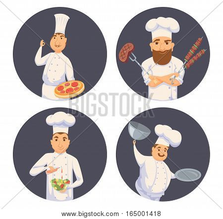Chefs in restaurant kitchen cooking. Cute cooks in uniform preparing food in dining or hotel. Smile kitchener making Italian pizza, BBQ, salad and holding empty dish. Professional master