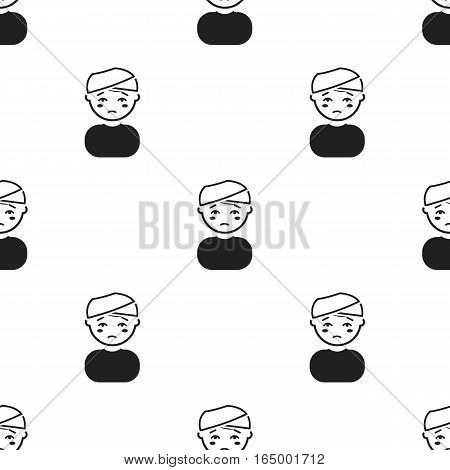 Head injury icon black. Single sick icon from the big ill, disease black. - stock vector