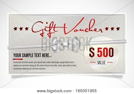 Elegant silver gift voucher with bow and sample text. Vector illustration.