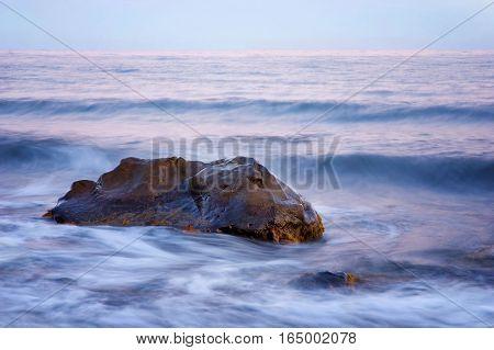 Seascape with rocks. Long exposure, Crimea, Ukraine