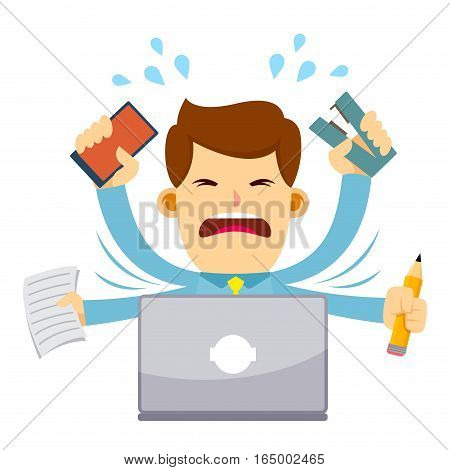 Vector stock of a businessman feeling stressed doing multitasking behind his laptop