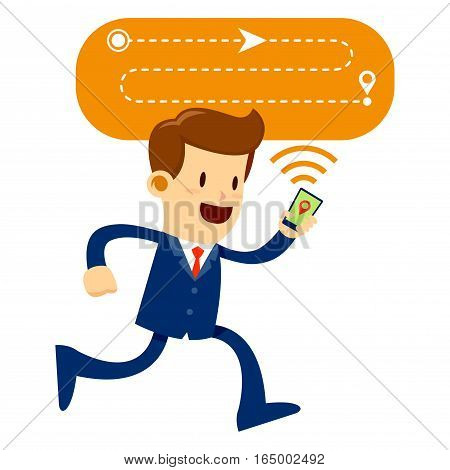 Vector stock of a businessman following map route directions using a mobile phone