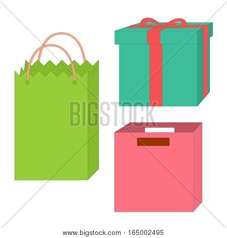 Set of empty boxes and packages, isolated on a white backgrounds, vector illustration