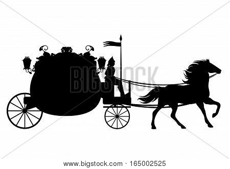 antique carriage with coachman drawn by horse - black vector silhouette