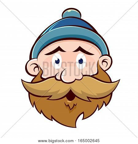Vector stock of a funny bearded old man face