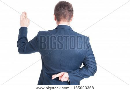 Back View Of Taking Oath And Holding Fingers Crossed