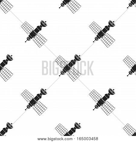 Satellite icon in  black style isolated on white background. Space pattern vector illustration.