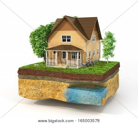 Concept of home. House in the grass on a piece of earth isolated on a white. Rent buy and realization concept. 3d illustration