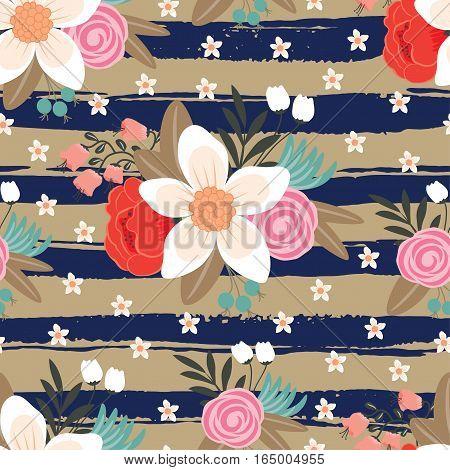 Seamless vintage floral decorative background. Vector illustration