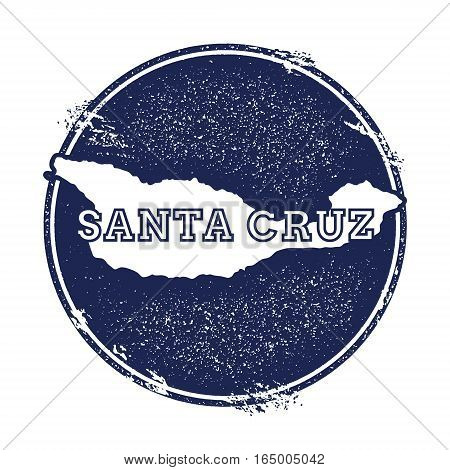 Santa Cruz Island Vector Map. Grunge Rubber Stamp With The Name And Map Of Island, Vector Illustrati
