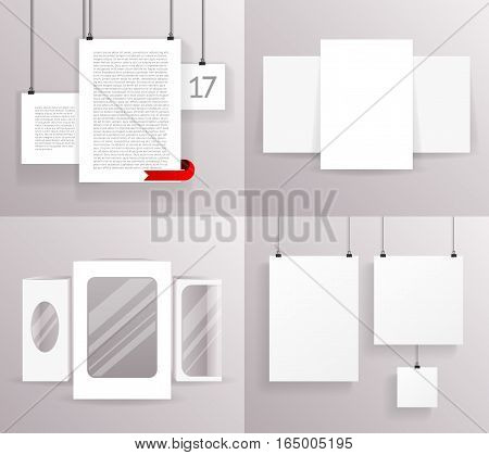 Mock Up Frames Boxes Paper Big Little Realistic Text Poster Icon Template Design Vector Illustration