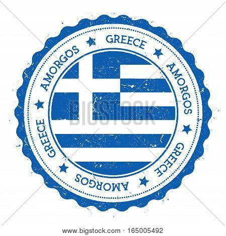 Amorgos Flag Badge. Vintage Travel Stamp With Circular Text, Stars And Island Flag Inside It. Vector