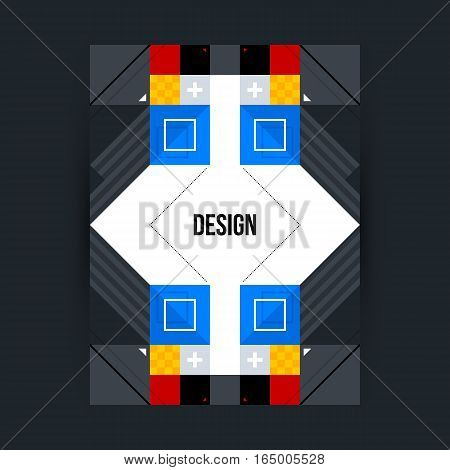 Poster Template With Futuristic Geometric Elements. Style Of Constructivism And Modern Art. Bright C