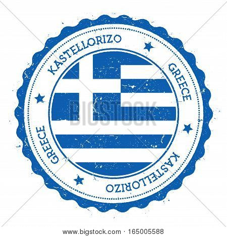 Kastellorizo Flag Badge. Vintage Travel Stamp With Circular Text, Stars And Island Flag Inside It. V