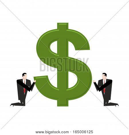 Businessman Praying To Dollar. Prayer Cash. Pray Profit