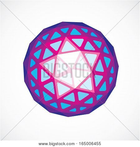 3d form futuristic origami abstract modeling. Purple vector low poly design element cybernetic orb shape for use in science and technology.