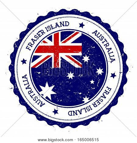 Fraser Island Flag Badge. Vintage Travel Stamp With Circular Text, Stars And Island Flag Inside It.