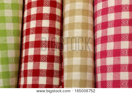 Cloth With Square Motif On Sale In The Haberdashery Shop
