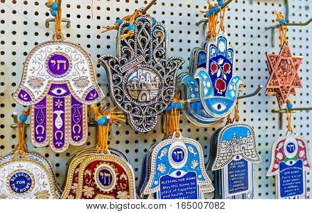 The hamsa or David's star (Magen David) are popular souvenirs in Israel Jerusalem.