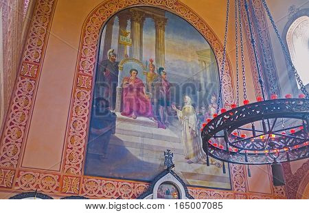 JERUSALEM ISRAEL - FEBRUARY 16 2016: The icon in Russian Orthodox Church of Mary Magdalene showing her in front of Pontius Pilate on February 16 in Jerusalem.