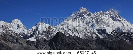 Mount Everest and Lhotse. View from Renjo La mountain pass Nepal.