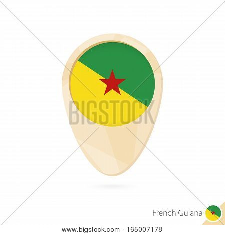 Map Pointer With Flag Of French Guiana. Orange Abstract Map Icon.