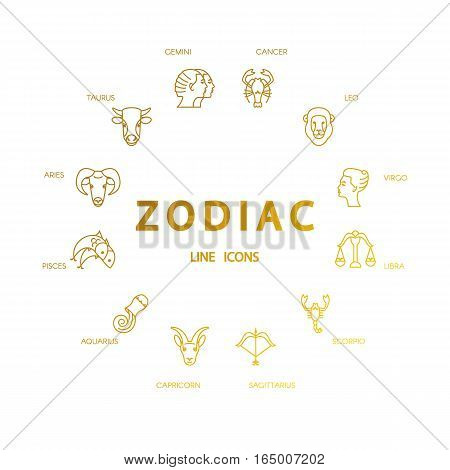 Vector zodiacal symbols. Astrology horoscope sign graphic design elements printing template. Zodiac Signs isolated on background.