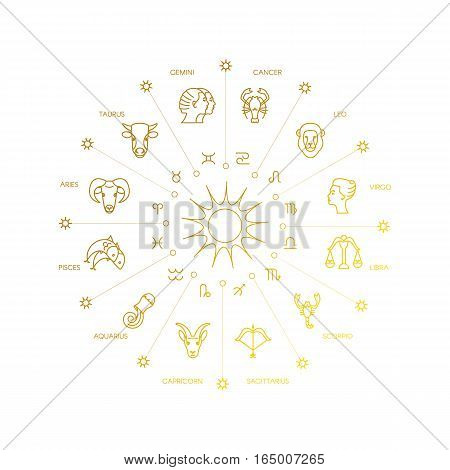 Zodiacal circle with astrology signs. Vector design element isolated on background. Zodiac Signs.