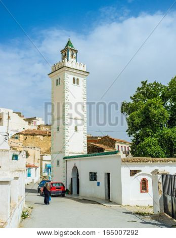 The old historical neighborhood next to the Roman Baths with the beautiful Sidi Ahmed Gharib Mosque El Kef Tunisia.