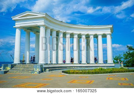 ODESSA UKRAINE - MAY 17 2015: The beautiful colonnade is a part of Vorontsov's Palace complex located at the end of Primorsky Boulevard on May 17 in Odessa.