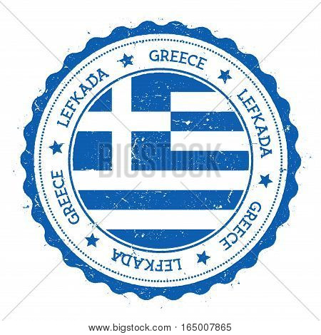 Lefkada Flag Badge. Vintage Travel Stamp With Circular Text, Stars And Island Flag Inside It. Vector