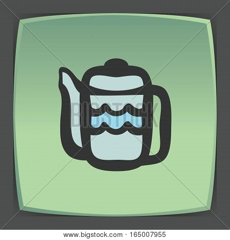 Vector outline teapot icon on green flat square plate. Elements for mobile concepts and web apps. Modern infographic logo and pictogram.